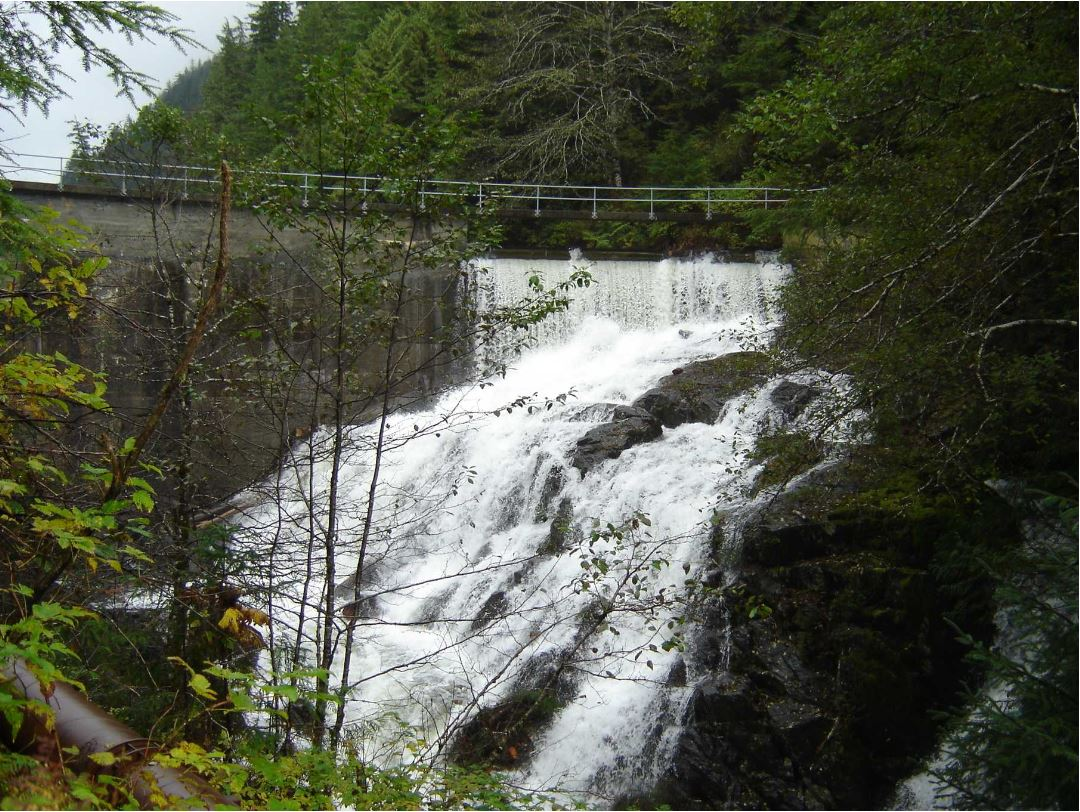 The old Whitman Lake Dam (Photo courtesy Alaska Energy Authority)