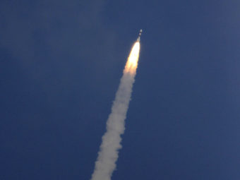 A rocket carrying the Mars orbiter lifts off from the island of Sriharikota, India, on Tuesday. Arun Sankar K/AP