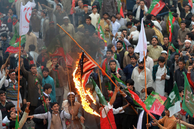 Thousands of Pakistani activists from right-wing political parties protested against U.S. drone strikes on Saturday. A Majeed /AFP/Getty Images