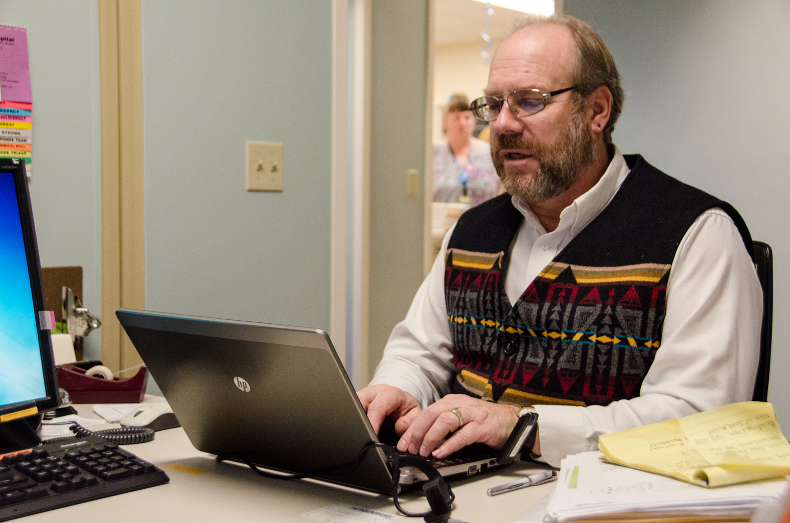 Enroll Alaska agent Mike Clark is stationed at Bartlett Regional Hospital. (Photo by Heather Bryant/KTOO)