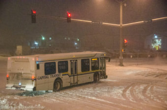 City and school bus routes are using winter routes today. (Photo by Heather Bryant/KTOO)