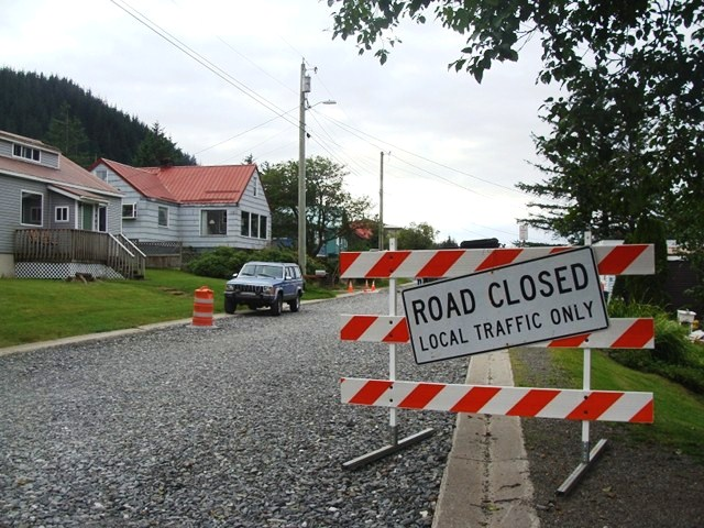 A corroded water main running beneath 2nd Street in Douglas cost the City and Borough of Juneau $375,000 to replace in 2012. (Photo by Casey Kelly/KTOO)