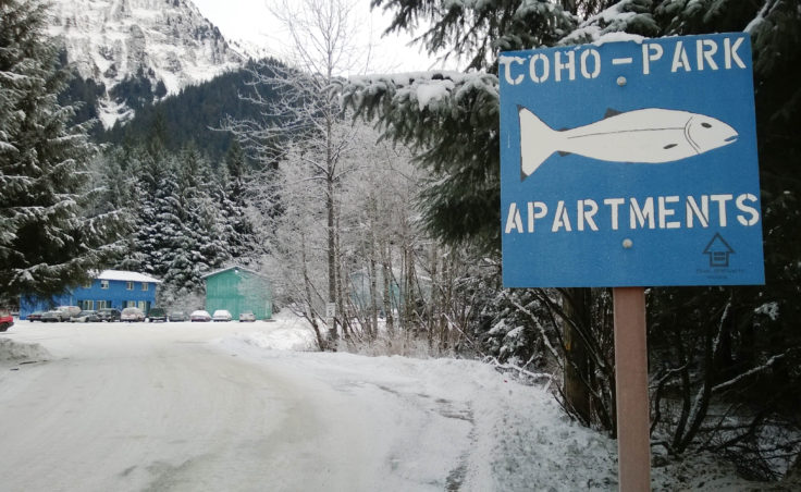 There's only one way in and out of the Coho Park Apartments complex for a car. (Photo by Jeremy Hsieh/KTOO)