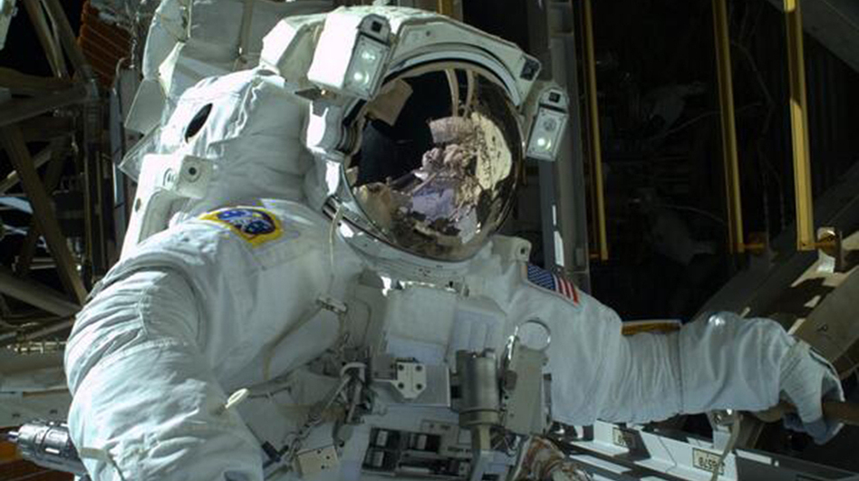 Astronaut Mike Hopkins during Saturday's spacewalk. He's going out again Tuesday. Photo courtesy of NASA.gov