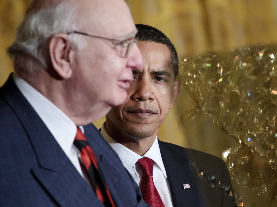 President Obama with Paul Volcker at the White House in 2009. Volcker, who headed the President's Economic Recovery Advisory Board, lent his name to a new rule aimed at curbing risk-taking on Wall Street. Brendan Smialowski/Getty Images