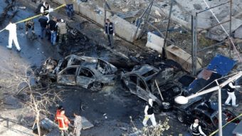 Some of the destruction at the scene of Friday's car bombing in Beirut. (AFP/Getty Images)