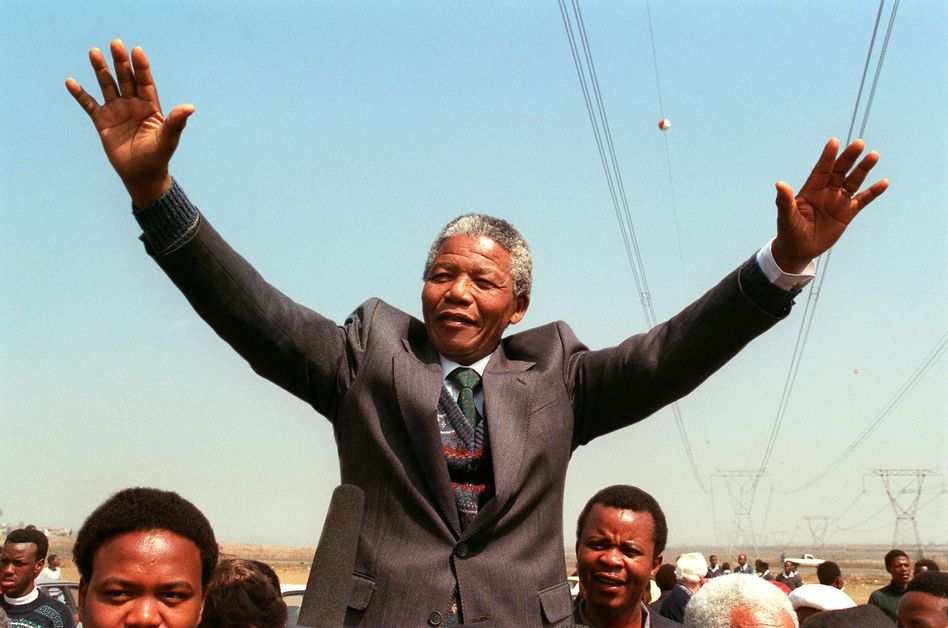 South African National Congress President Nelson Mandela addresses in 1990. Trevor Samson /AFP/Getty Images