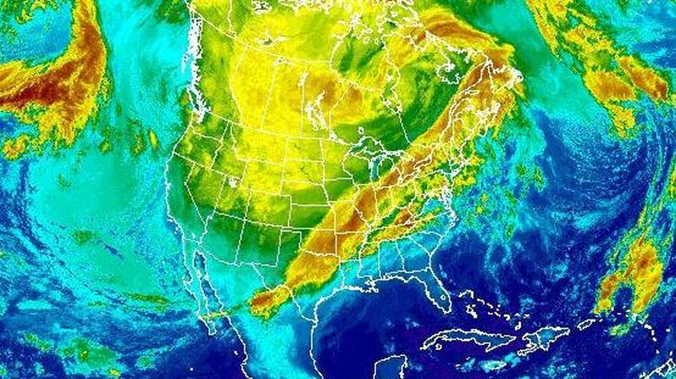 Snow and ice will hit a broad area from Texas to the Ohio Valley on Friday and Saturday, the National Weather Service says. This composite satellite image was taken at 6:15 a.m. ET Friday. NOAA