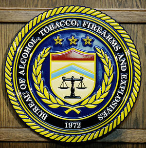 The seal of the US Bureau of Alcohol, Tobacco, Firearms and Explosives photographed in 2007. AFP/Getty Images