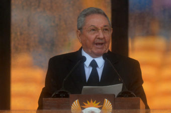 Cuba's President Raúl Castro speaks during the memorial service of former South African president Nelson Mandela. Alexander Joe /AFP/Getty Images
