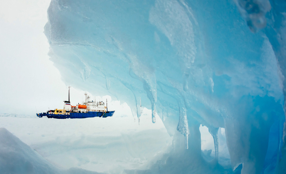 Framed by ice: the MV Akademik Shokalskiy, which has been stuck in Antarctic ice since Christmas Eve. Reuters/Landov