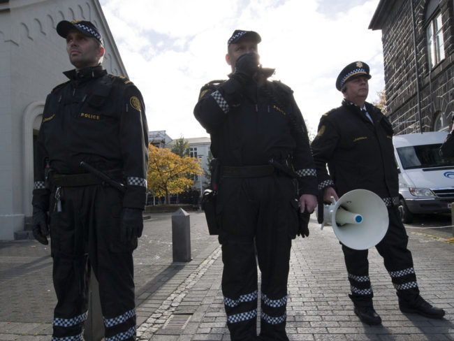 Police officers in Reykjavik, Iceland, are rarely armed. Halldor Kolbeins/AFP/Getty Images