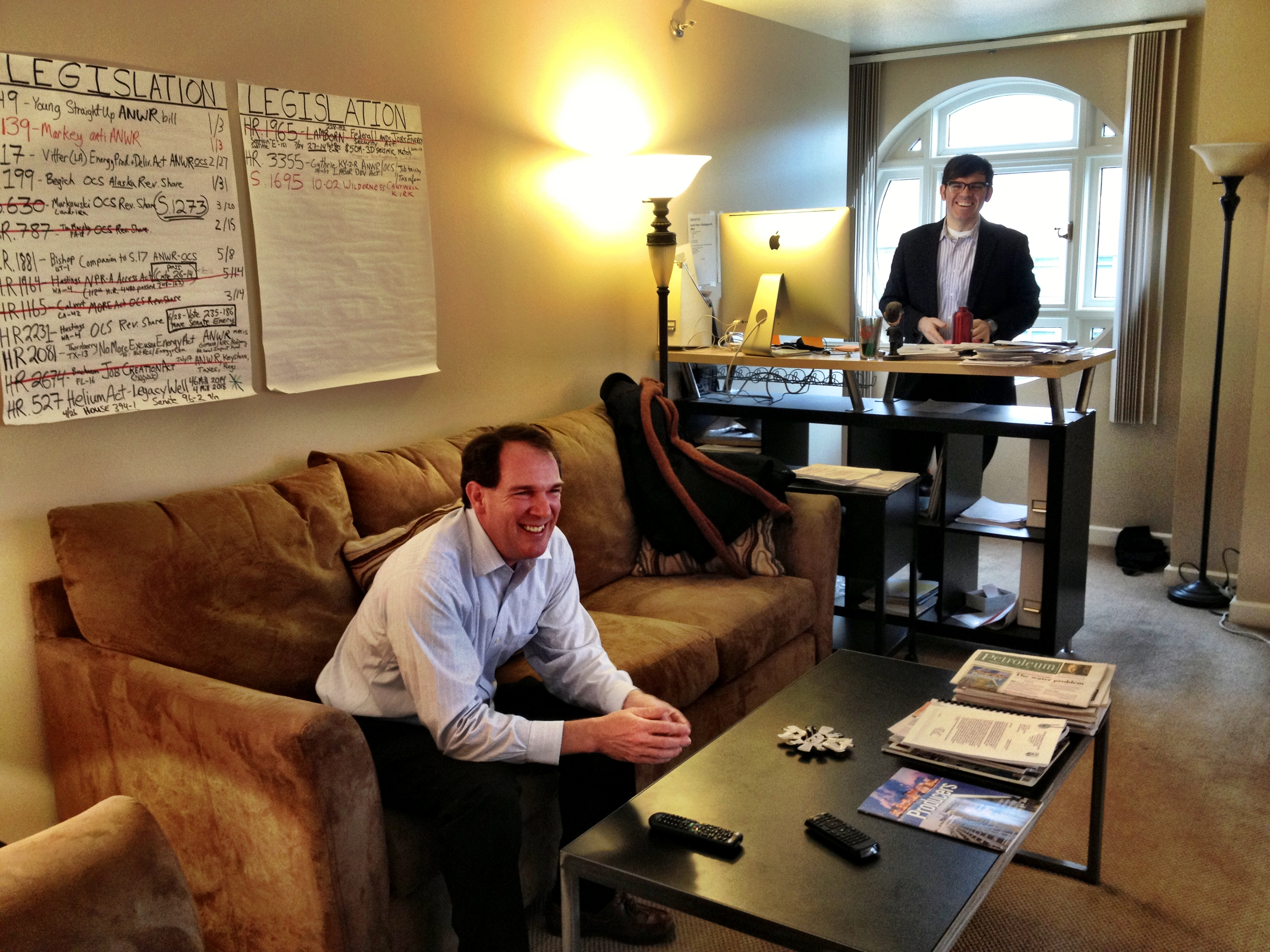 Adrian Herrera (seated) and Michael Shively, at Arctic Power's office in Washington, D.C.