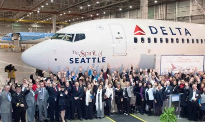 Delta Air Lines  unveils a new jet, 'Spirit of Seattle,' dedicated to the city. (Courtesy Delta Air Lines)