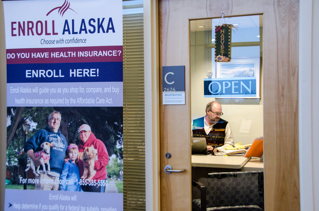 Enroll Alaska agent Mike Clark's office is located at Bartlett Regional Hospital. (Photo by Heather Bryant/KTOO)