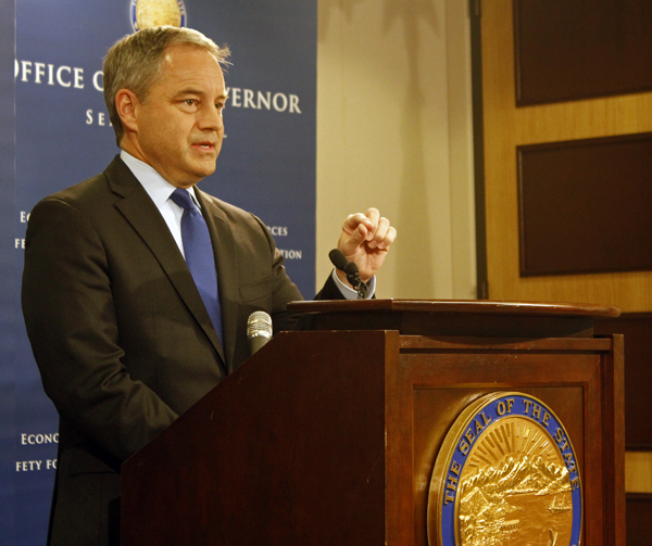 Governor Sean Parnell discusses his proposed FY15 budget. (Photo by Josh Edge/APRN)