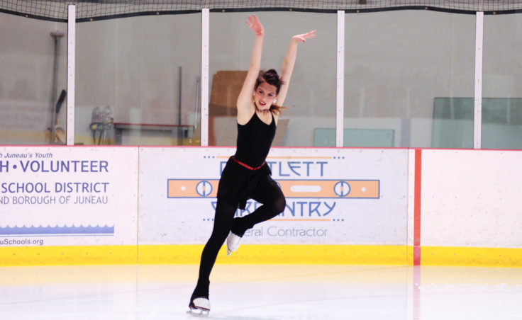 Alexandra Sargent kicks off her performance to Lady Gaga's Americano during Juneau Skating Club's annual holiday recital.