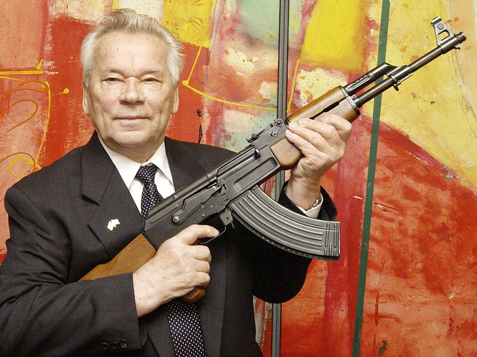 Mikhail Kalashnikov, with his AK-47, in 2002. Jens Meyer/ASSOCIATED PRESS