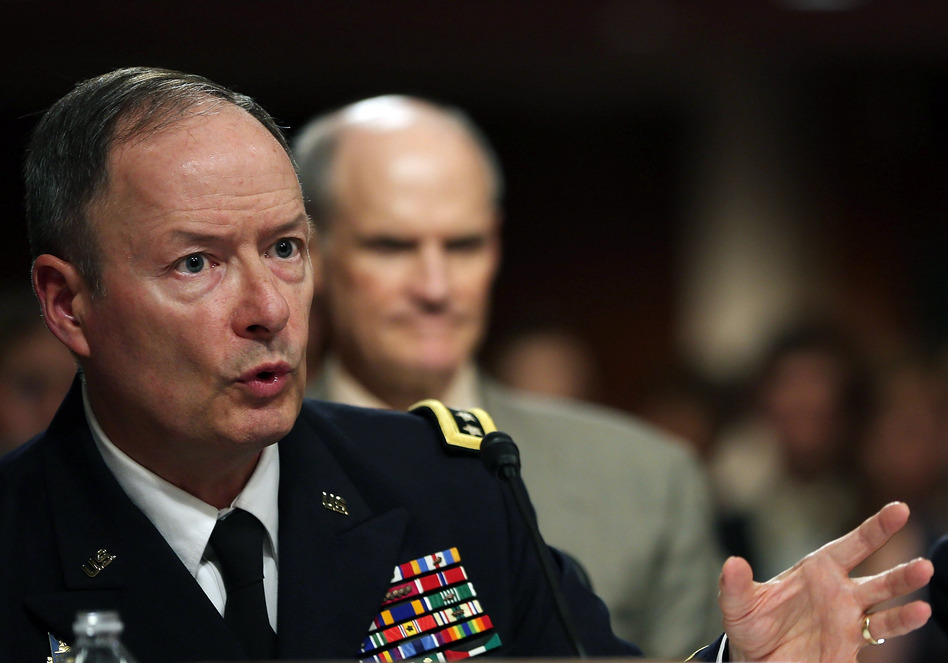 U.S. Army Gen. Keith Alexander, commander of the U.S. Cyber Command, director of the National Security Agency (NSA), testifies during a Senate Appropriations Committee hearing on Capitol Hill, in June. Mark Wilson/Getty Images