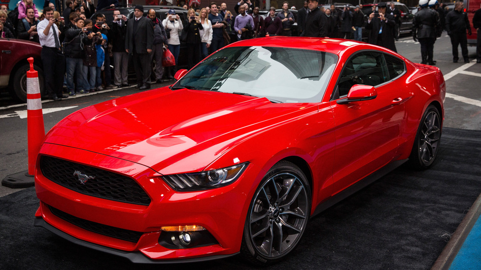 The new 2015 Ford Mustang was unveiled Thursday. The car's new design includes features that are geared toward global markets. Andrew Burton/Getty Images