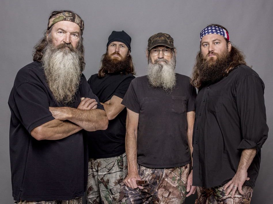 Four of the stars of Duck Dynasty, from left to right: Phil Robertson, Jase Robertson (Phil's son), Si Robertson (Phil's brother) and Willie Robertson (Phil's son). Zach Dilgard/AP