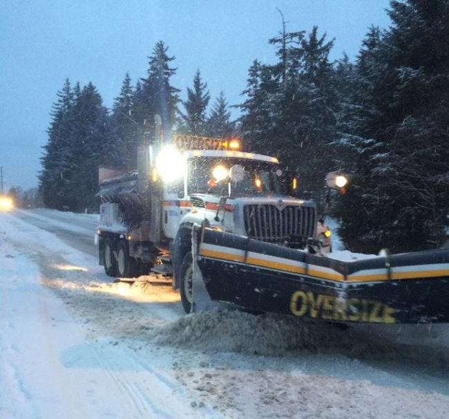 A snow plow on Glacier Highway last Friday morning. (Photo by Sarah Yu/KTOO)