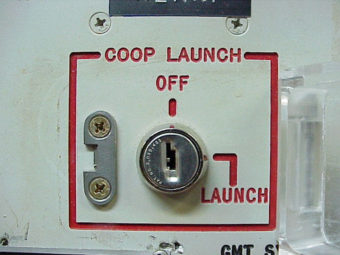 The launch-key mechanism at the deactivated Delta Nine Launch Facility near Wall, S.D., in 2002. AP