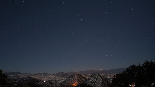 The Quadrantid meteor shower is seen shortly after 5 a.m. on Jan 3, 2013. This year's shower will be helped by a new moon that will keep the night sky dark. Mike Lewinski/Flickr