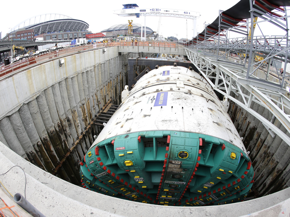 "In this photo made with a fisheye wide-angle lens, ""Bertha"" is shown in July as it prepares to begin tunneling in Seattle. Ted S. Warren/AP"