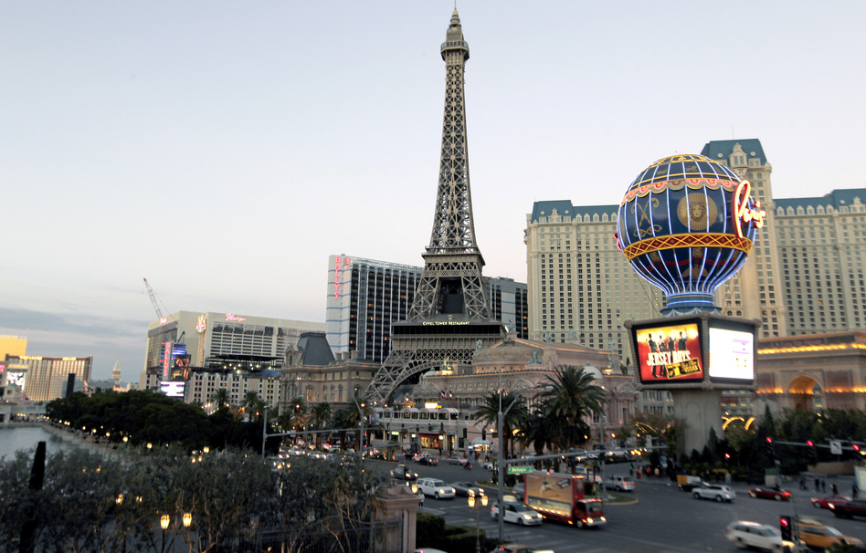 Large casinos in Nevada are continuing their losing streak, reporting more than a billion dollars in losses for the most recent fiscal year. Here, a view of Paris Las Vegas, a hotel and casino located on the Las Vegas Strip. John Gurzinski/AFP/Getty Images