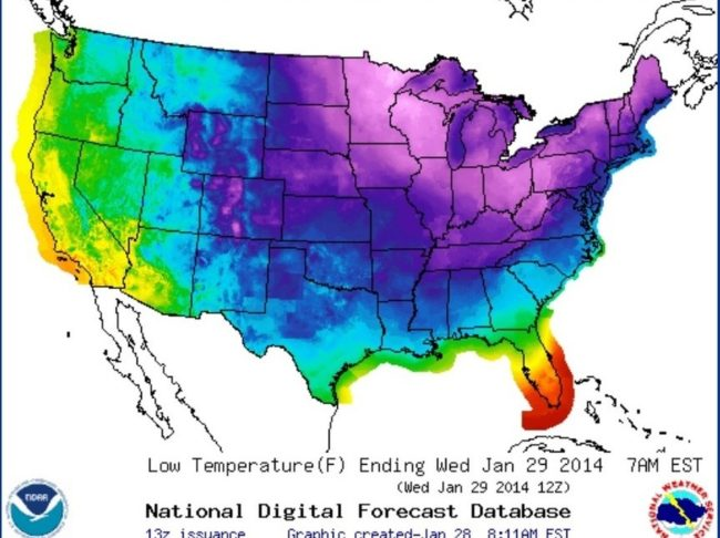 Tuesday night's forecast for the lower 48 states shows temperatures below freezing (the shades of blue and purple) across most of the nation. National Weather Service