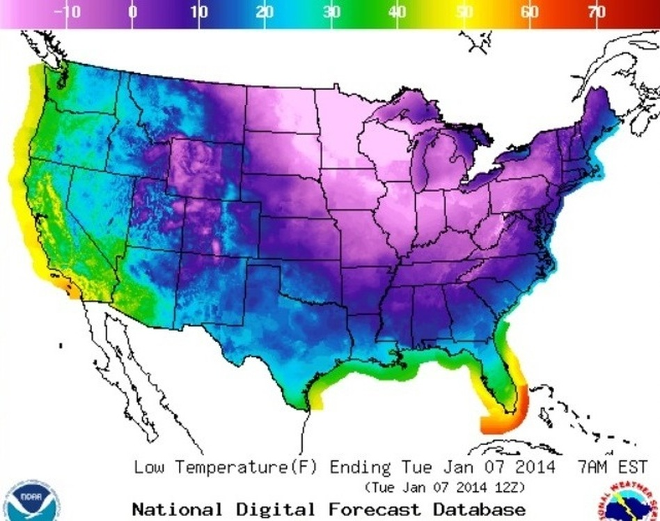If you're in a blue or purple zone, you're going to be cold tonight. National Weather Service