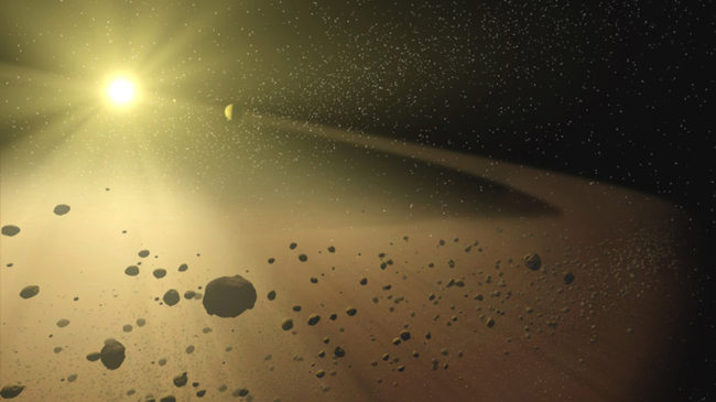 An artist's concept of a narrow asteroid belt orbiting a star similar to our own sun. NASA/JPL-Caltech