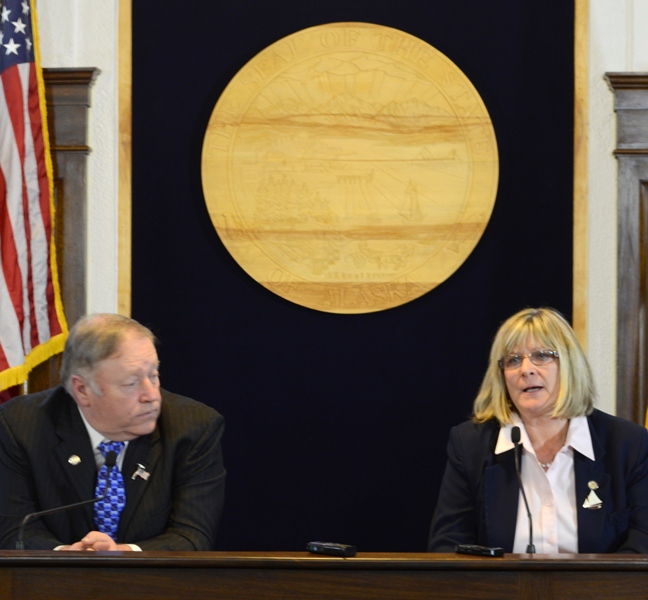 House Speaker Mike Chenault & House Minority Leader Beth Kerttula held a joint news conference last week, after Kerttula announced she was leaving the legislature. Photo by Skip Gray/Gavel Alaska