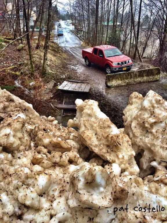 Jumbled snow at the bottom of Behrends avalanche path on Tuesday. Photo courtesy of Pat Costello.