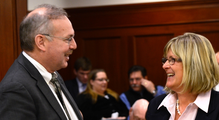Rep. Bryce Edgmon and Rep. Beth Kerttula on the House floor Tuesday. Edgmon caucuses with the House majority, but will vote with all House Democrats on Kerttula's replacement.
