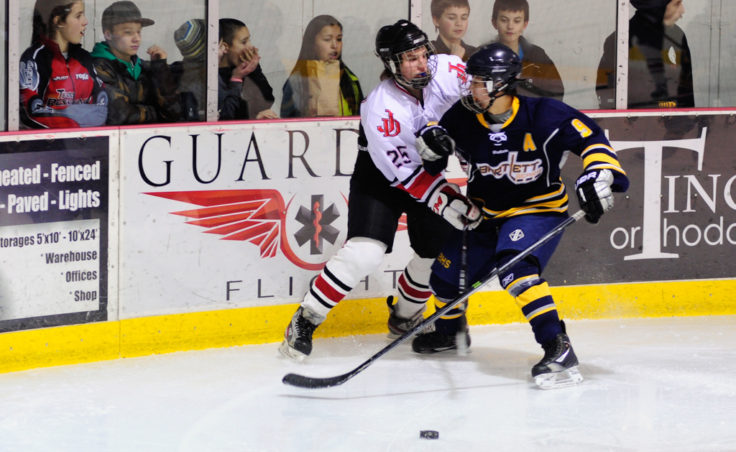 Ryan Liebelt fends off a checking attempt by Bartlett's Kyle Sun during the weekend series at Treadwell Ice Arena.