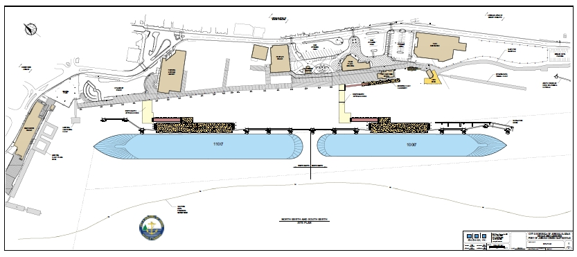 Site plan for Juneau's proposed $55 million floating cruise ship berths. Image courtesy City and Borough of Juneau.
