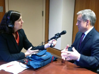 APRN's Lori Townsend spoke with Gov. Sean Parnell about his goals this legislative session. (Photo by Annie Feidt/APRN)
