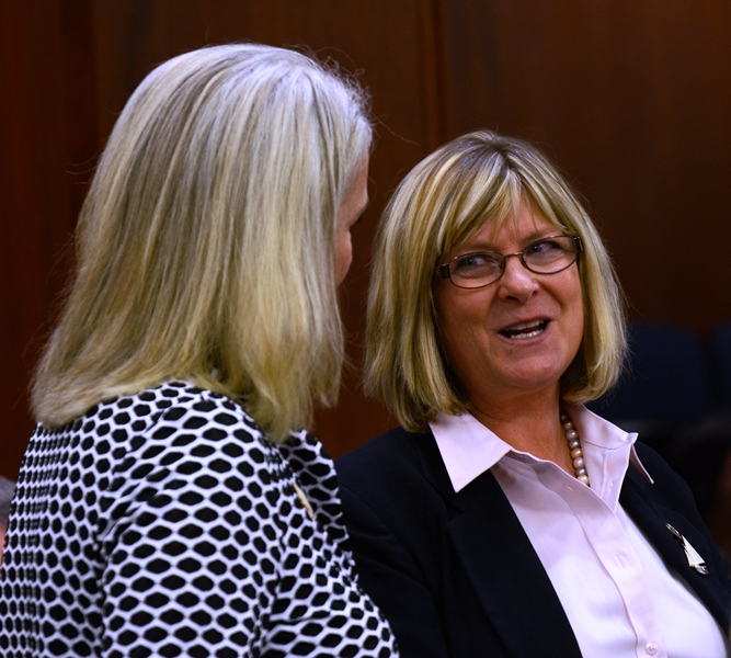 Rep. Cathy Munoz, R-Juneau, and Rep. Beth Kerttula, D-Juneau, talk on the House floor just after she resigned on Monday.