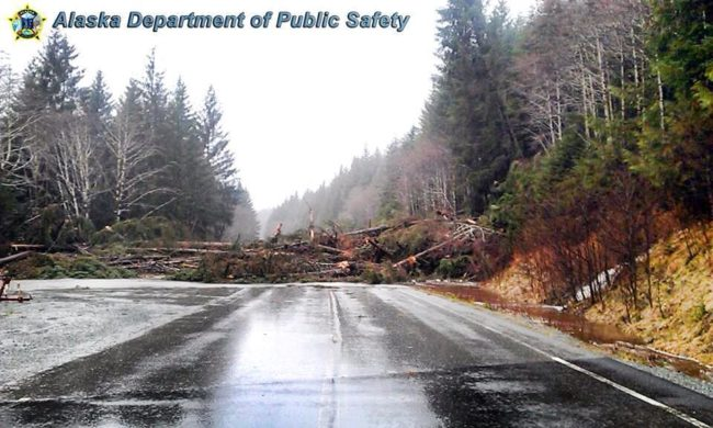 This Alaska Department of Public Safety photo shows a slide blocking a road on Prince of Wales Island.
