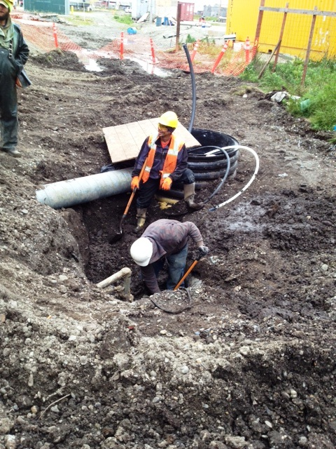 A crew works on a sewer system in a rural Alaska village. Photo courtesy USDA Rural Development.