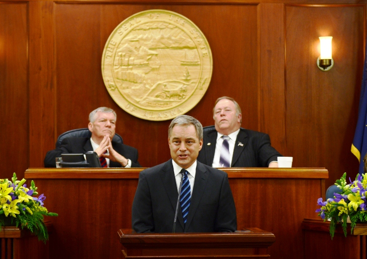 Gov. Sean Parnell addressed the Alaska Legislature Wednesday in his fifth State of the State. Photo by Skip Gray/Gavel Alaska.