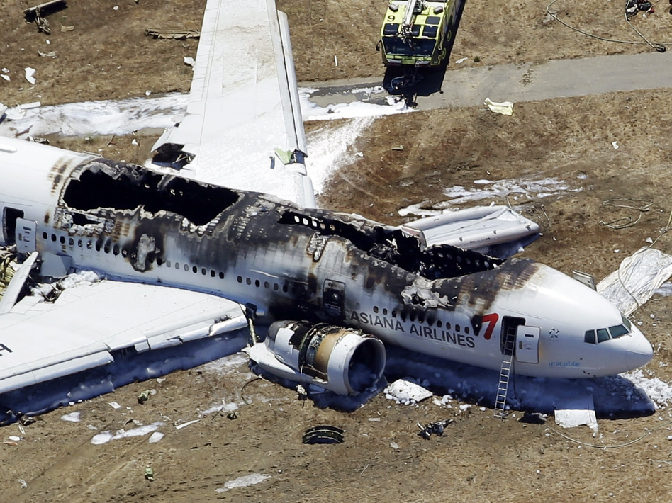 A view from above of the wreckage after Asiana Flight 214 crashed at San Francisco International Airport on July 6, 2013. Marcio Jose Sanchez/AP