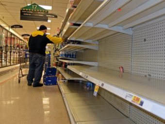 In Charleston, W.Va., the shelves of this Kroger supermarket had been nearly stripped of bottled water on Thursday. Residents rushed to buy water after a chemical spill led officials to warn that they not use what's coming out of their taps. Tyler Evert/AP