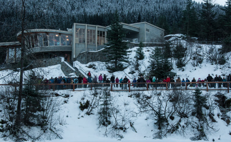 People line the walkway to watch the ice rescue demonstration. (Photo by Greg Culley)