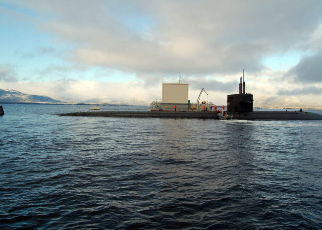 "Fast attack submarine USS Los Angeles (SSN 688) is moored at the Southeast Alaska Acoustic Measurement Facility Static Site in Ketchikan, Alaska, as part of Escape Exercise 2006. ""First and Finest,"" Los Angeles was the first nuclear-powered U.S. submarine to conduct an open ocean escape. U.S. Navy photo by Mass Communication Specialist 1st Class Cynthia Clark"