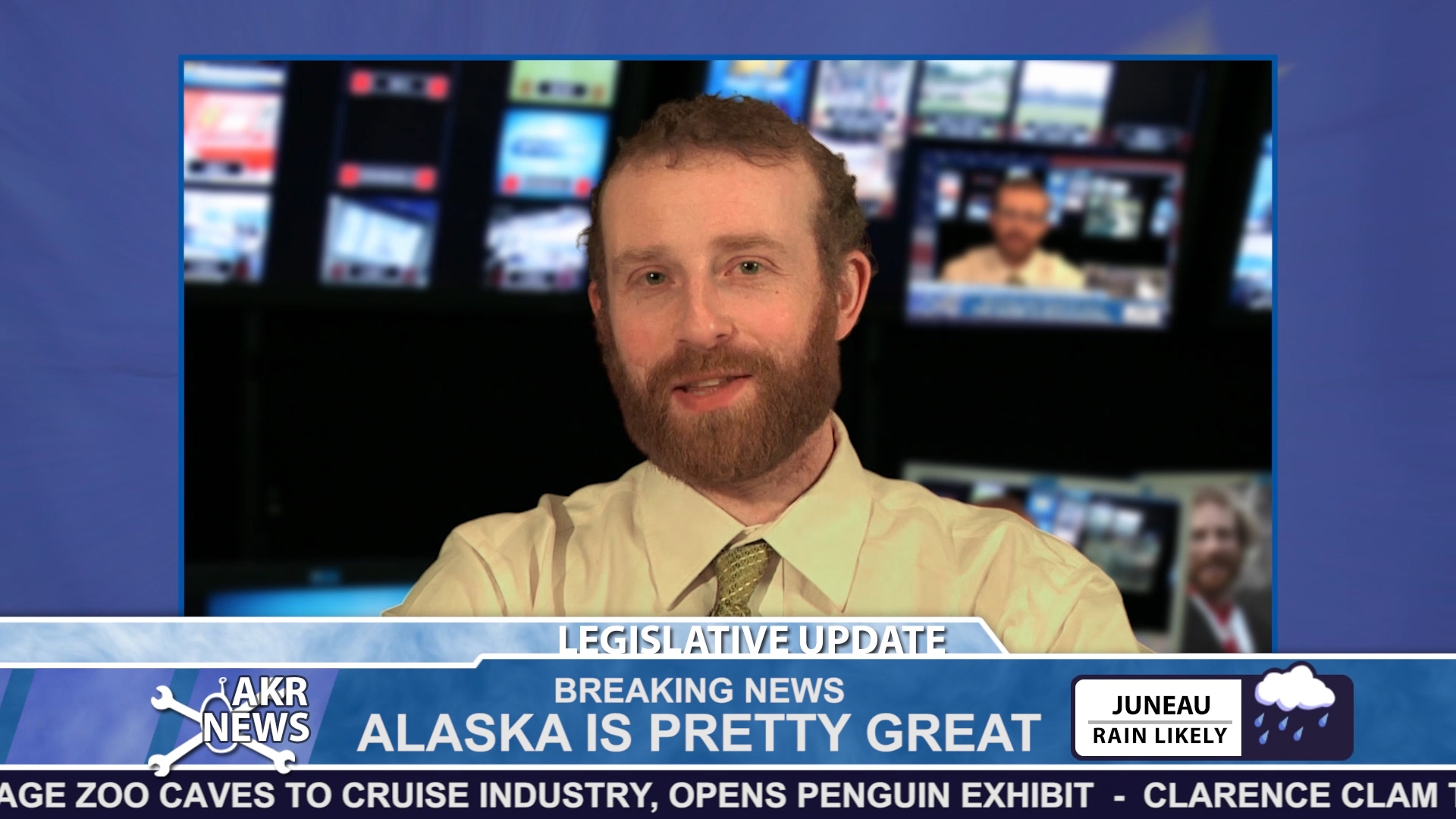 A video still from a 2013 episode of Alaska Robotics News with host Pat Race. (Courtesy of Alaska Robotics)