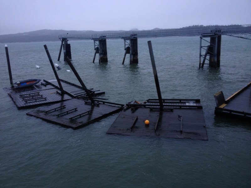 When the steel float dislodged in January, it swung into the timber floats, destroying two sections. The state paid $32,000 to replace them. (Photo courtesy of Pep Scott)
