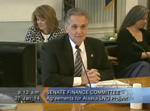 Sen. Kevin Meyer starts the Senate Finance Committee meeting reviewing the proposed LNG pipeline. (Image courtesy Gavel Alaska)